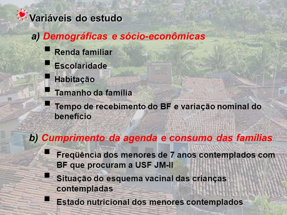 a) Demográficas e sócio-econômicas