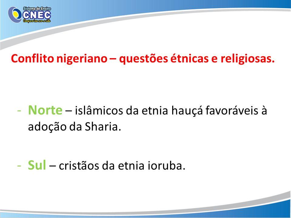 Conflito nigeriano – questões étnicas e religiosas.
