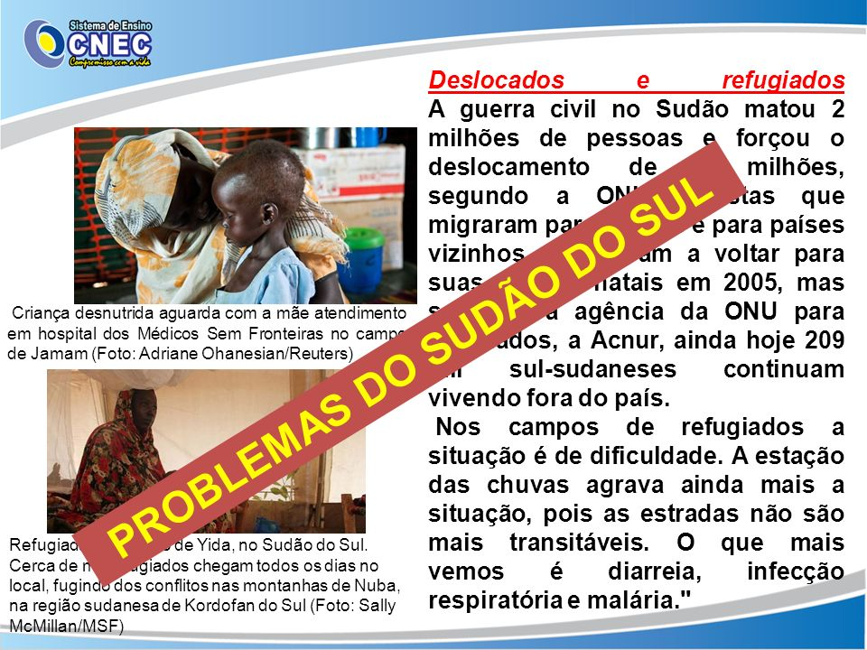 PROBLEMAS DO SUDÃO DO SUL