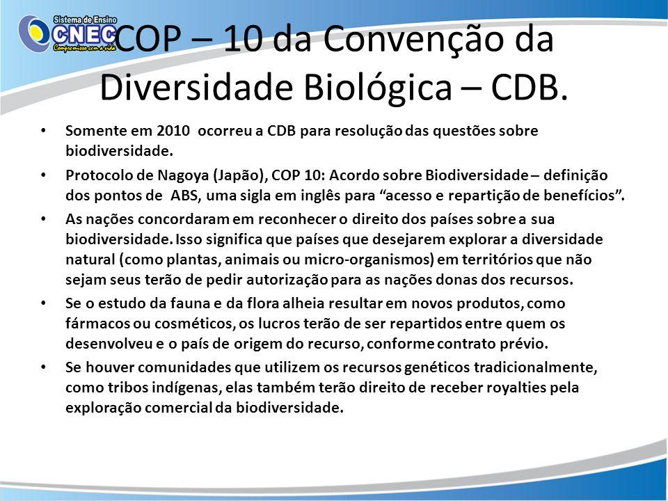 COP – 10 da Convenção da Diversidade Biológica – CDB.