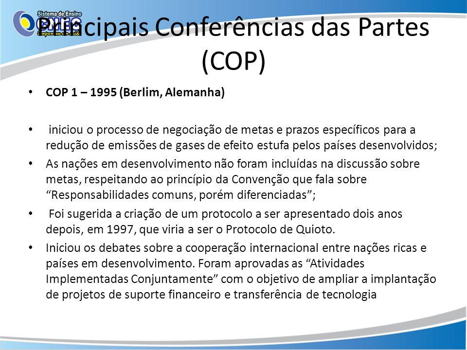 Principais Conferências das Partes (COP)
