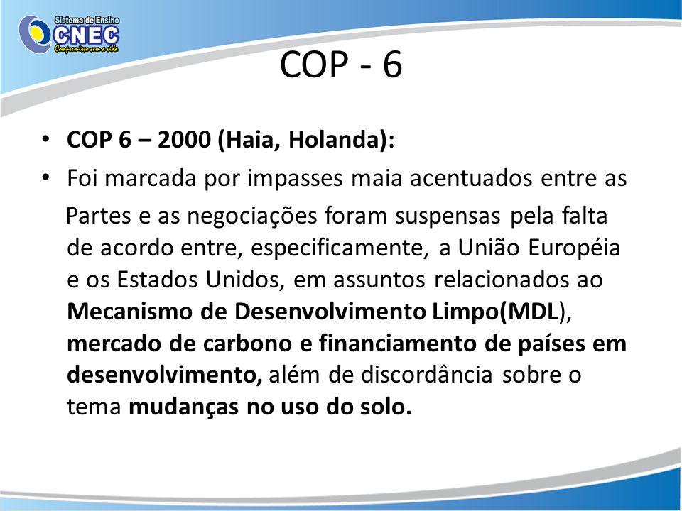 COP - 6 COP 6 – 2000 (Haia, Holanda):