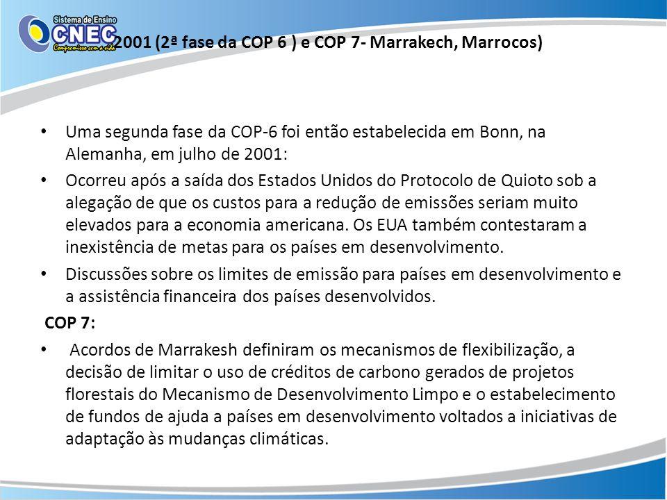 2001 (2ª fase da COP 6 ) e COP 7- Marrakech, Marrocos)