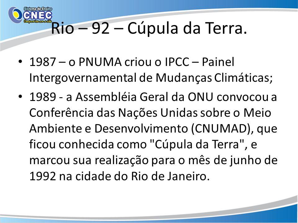 Rio – 92 – Cúpula da Terra. 1987 – o PNUMA criou o IPCC – Painel Intergovernamental de Mudanças Climáticas;