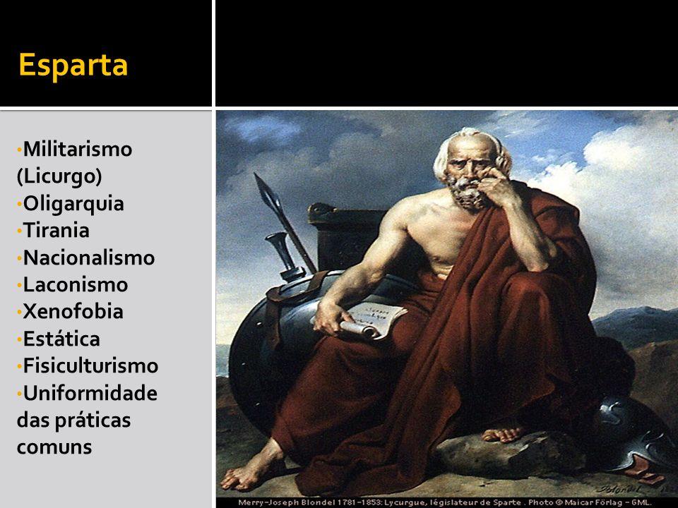 Esparta Militarismo (Licurgo) Oligarquia Tirania Nacionalismo