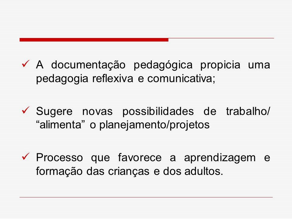 A documentação pedagógica propicia uma pedagogia reflexiva e comunicativa;