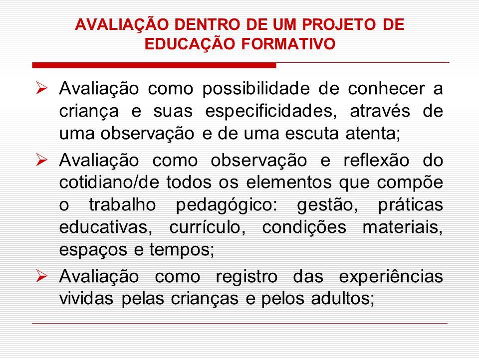AVALIAÇÃO DENTRO DE UM PROJETO DE EDUCAÇÃO FORMATIVO