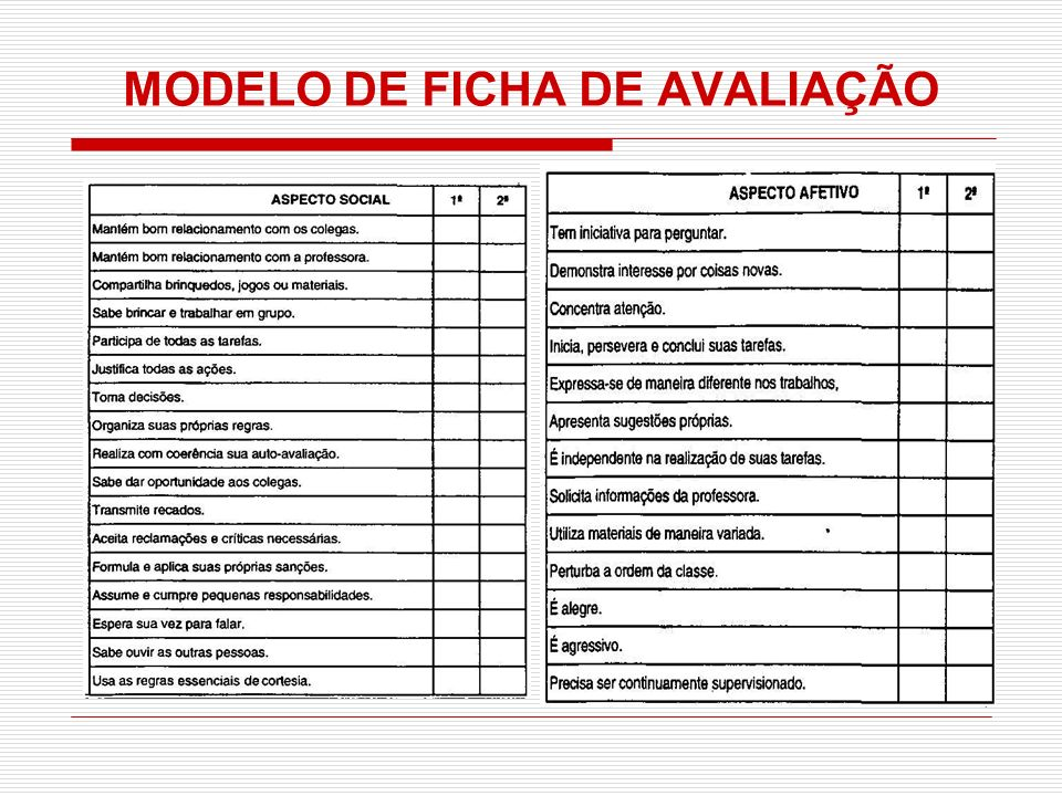 MODELO DE FICHA DE AVALIAÇÃO