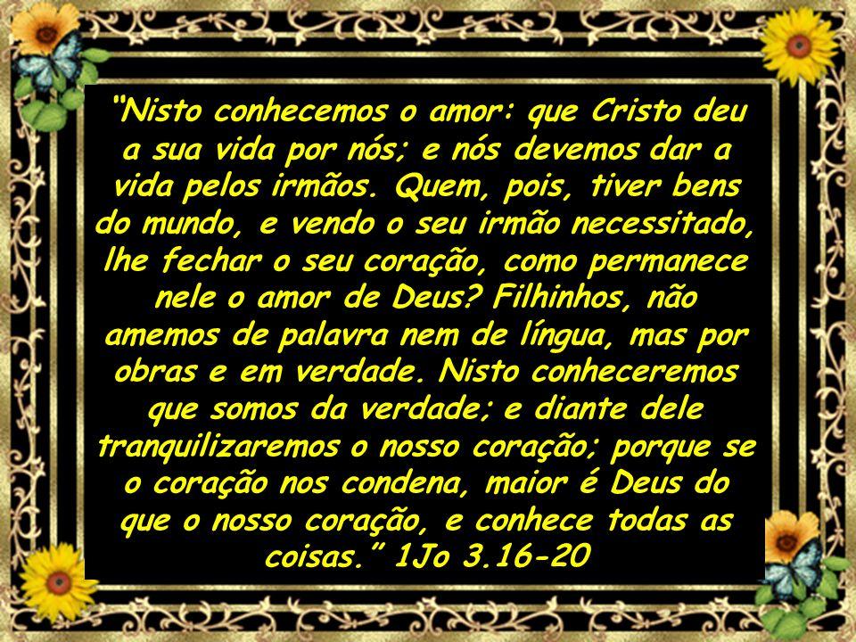 Nisto conhecemos o amor: que Cristo deu a sua vida por nós; e nós devemos dar a vida pelos irmãos.