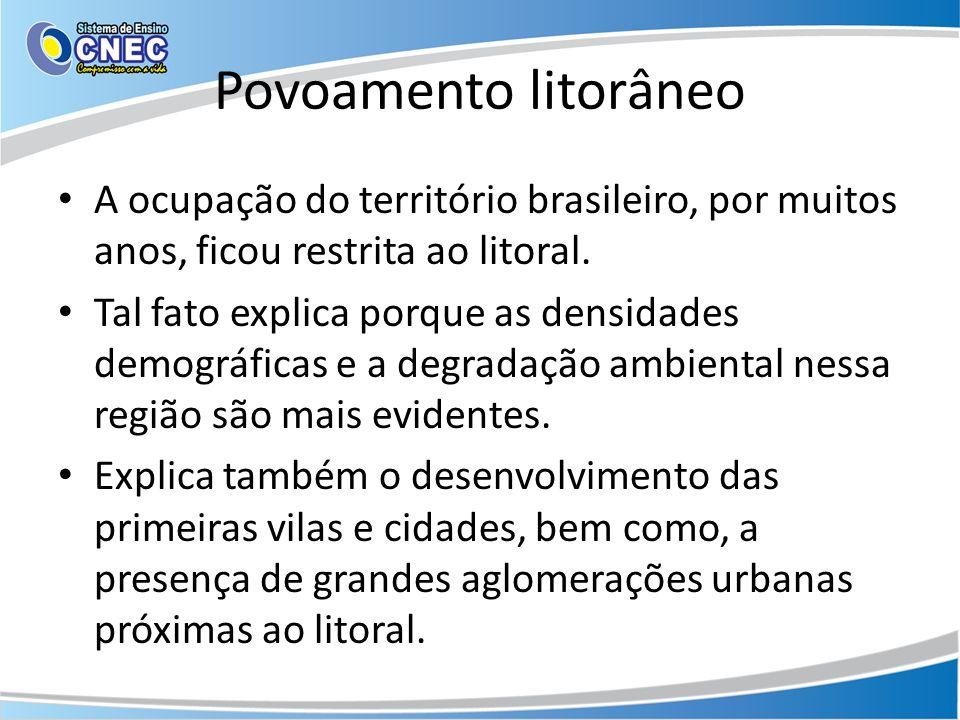Povoamento litorâneo A ocupação do território brasileiro, por muitos anos, ficou restrita ao litoral.