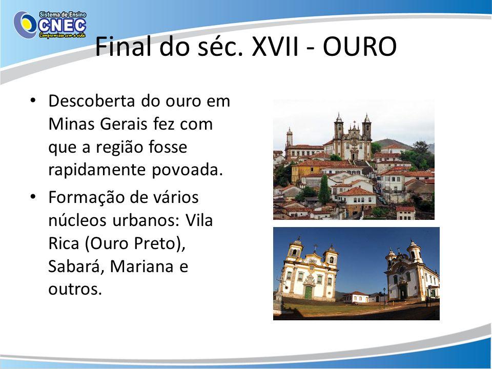 Final do séc. XVII - OURO Descoberta do ouro em Minas Gerais fez com que a região fosse rapidamente povoada.