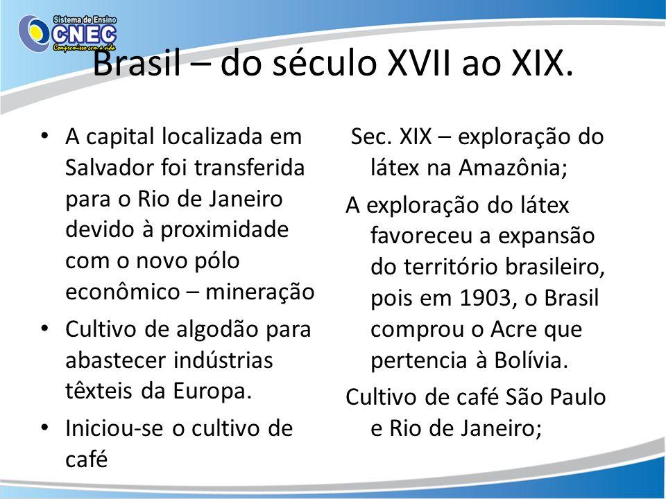 Brasil – do século XVII ao XIX.