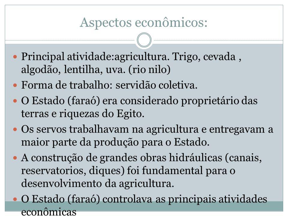 Aspectos econômicos: Principal atividade:agricultura. Trigo, cevada , algodão, lentilha, uva. (rio nilo)