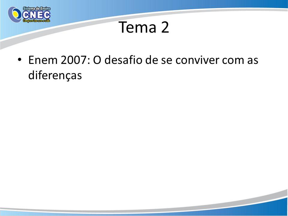 Tema 2 Enem 2007: O desafio de se conviver com as diferenças