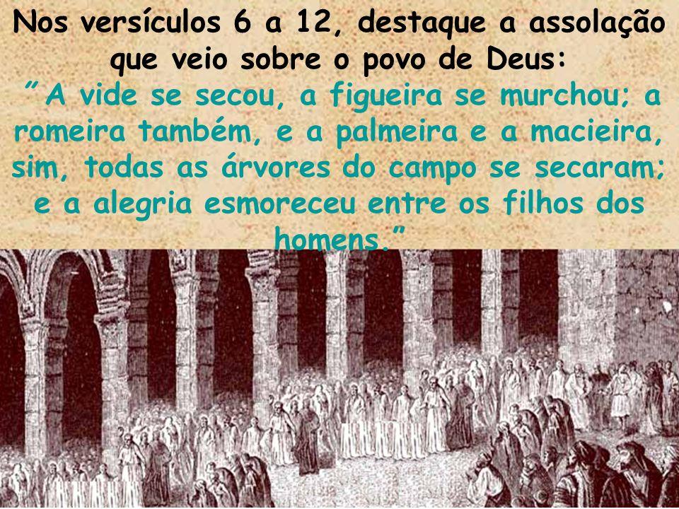 Nos versículos 6 a 12, destaque a assolação que veio sobre o povo de Deus: