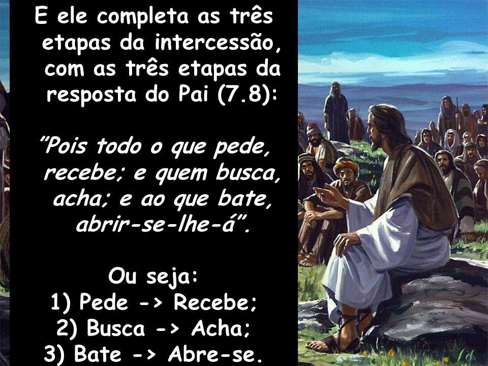 E ele completa as três etapas da intercessão, com as três etapas da resposta do Pai (7.8):