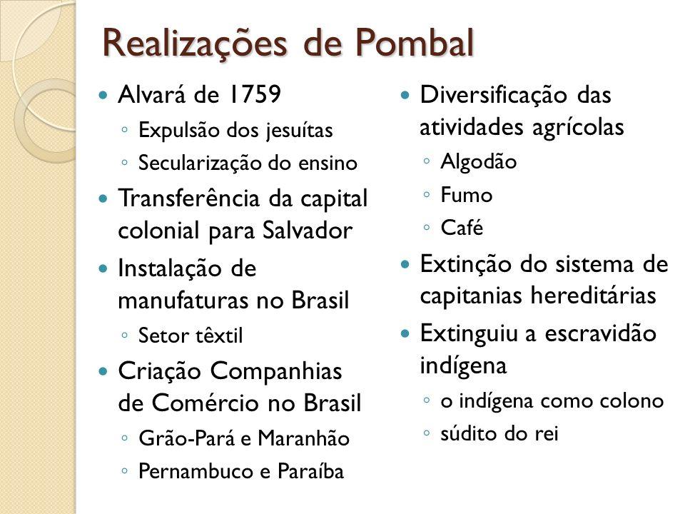 Realizações de Pombal Alvará de 1759