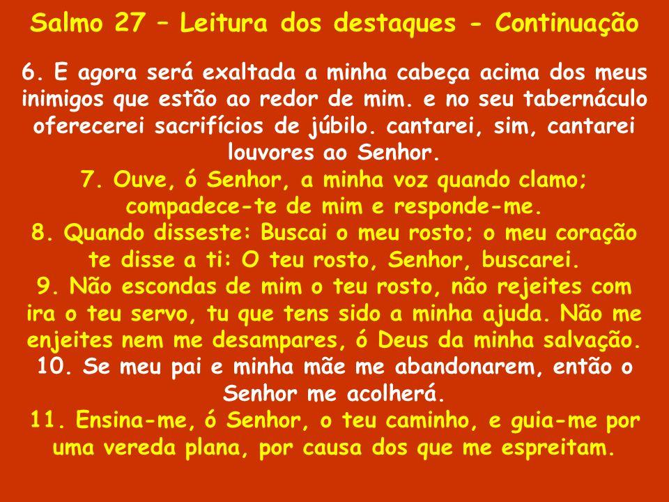 Salmo 27 – Leitura dos destaques - Continuação