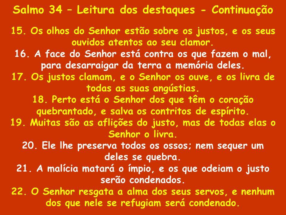 Salmo 34 – Leitura dos destaques - Continuação