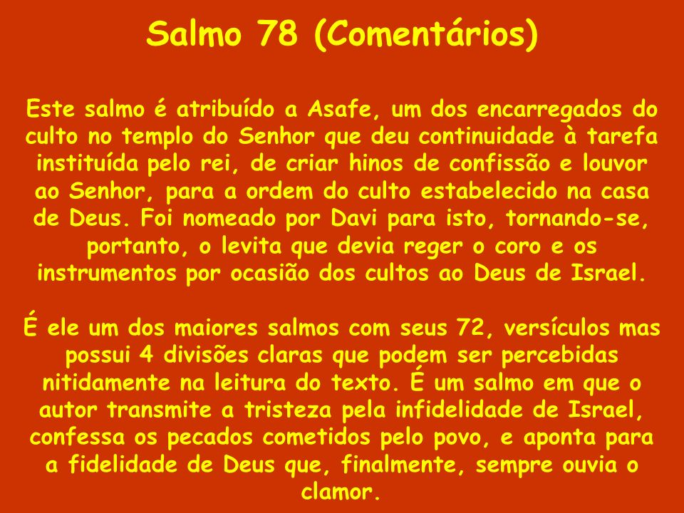 Salmo 78 (Comentários)