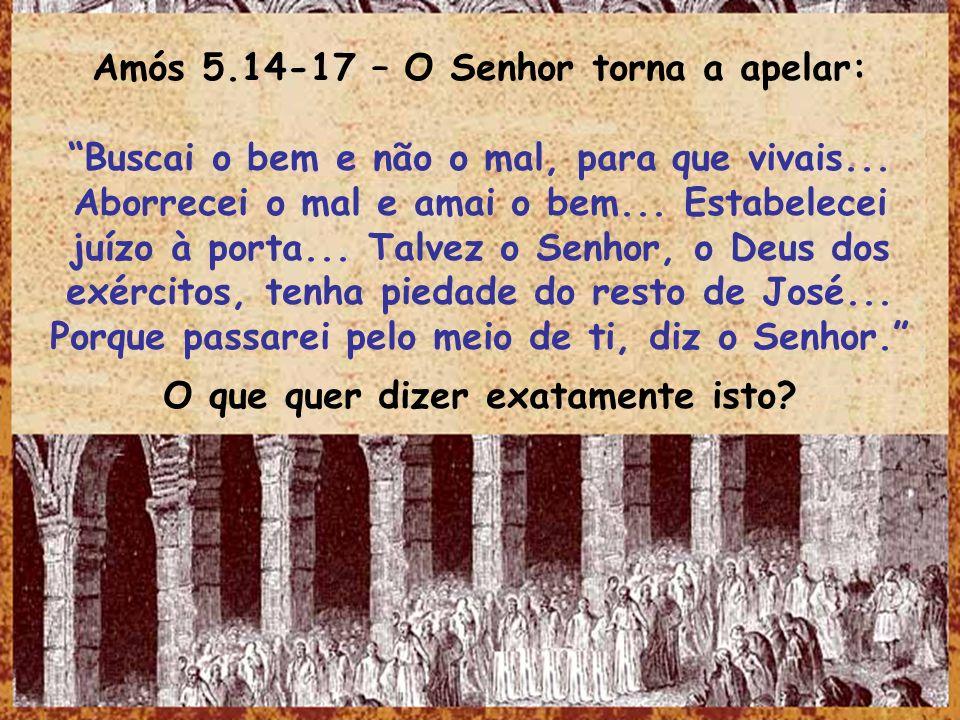 Amós 5.14-17 – O Senhor torna a apelar: