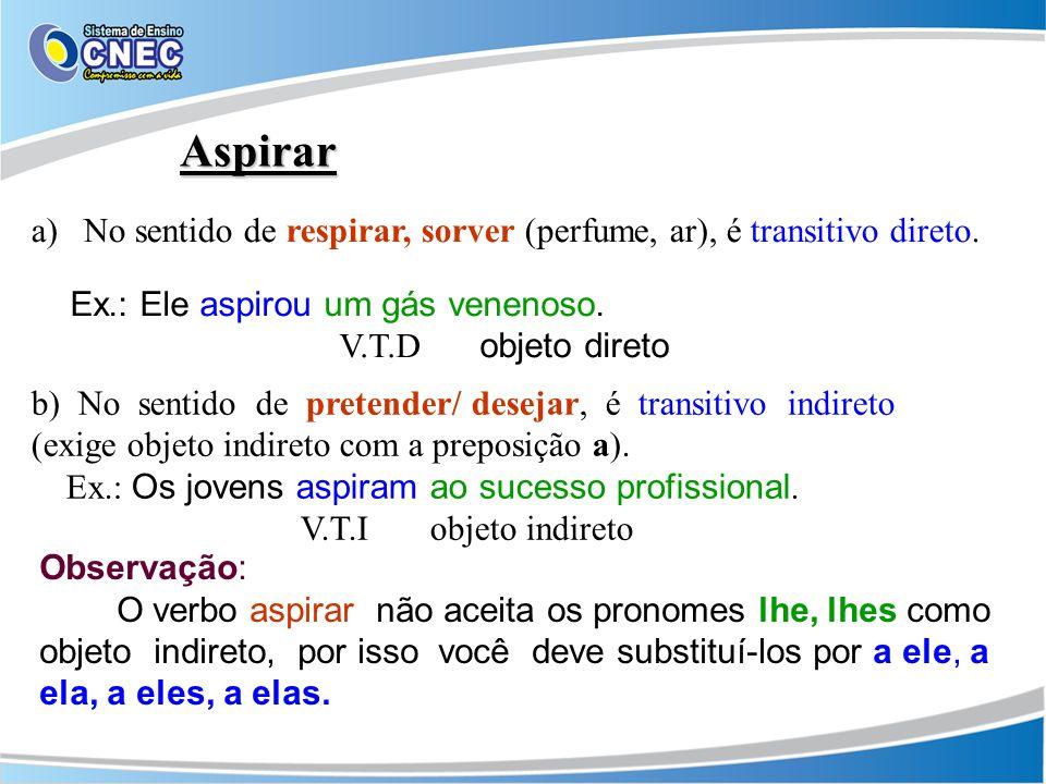 Aspirar No sentido de respirar, sorver (perfume, ar), é transitivo direto. Ex.: Ele aspirou um gás venenoso.