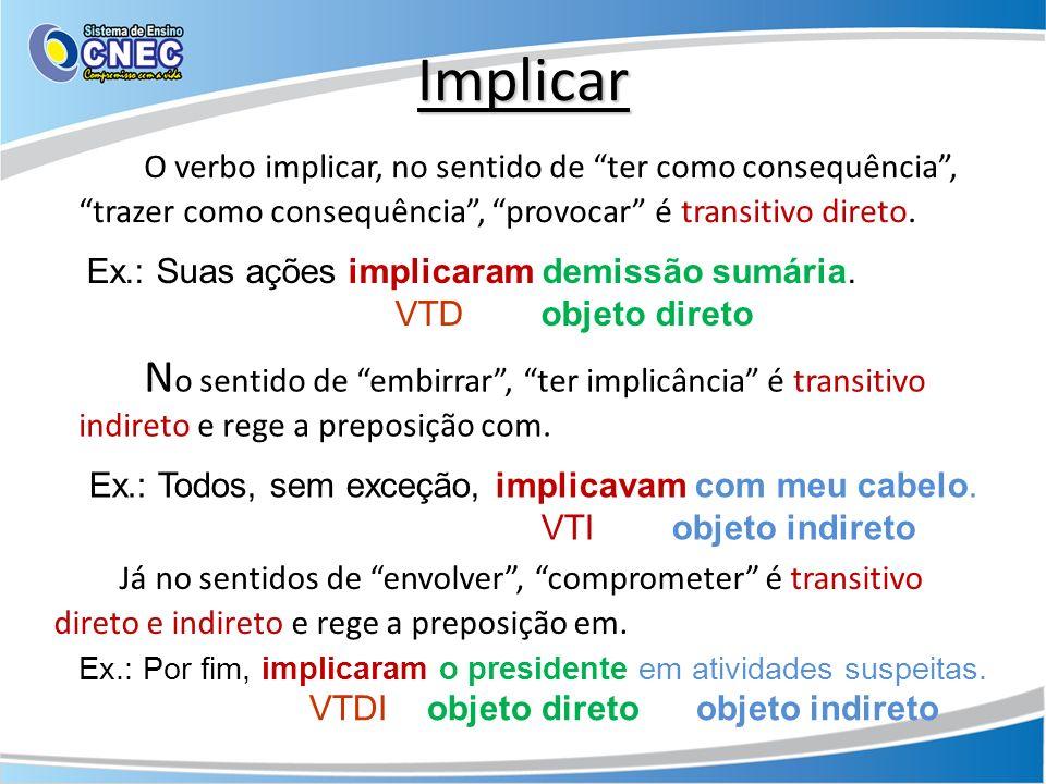 Implicar O verbo implicar, no sentido de ter como consequência , trazer como consequência , provocar é transitivo direto.