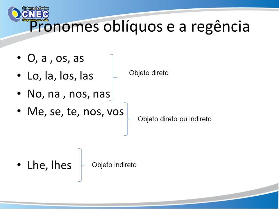 Pronomes oblíquos e a regência