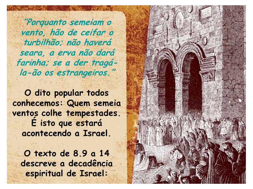 O texto de 8.9 a 14 descreve a decadência espiritual de Israel: