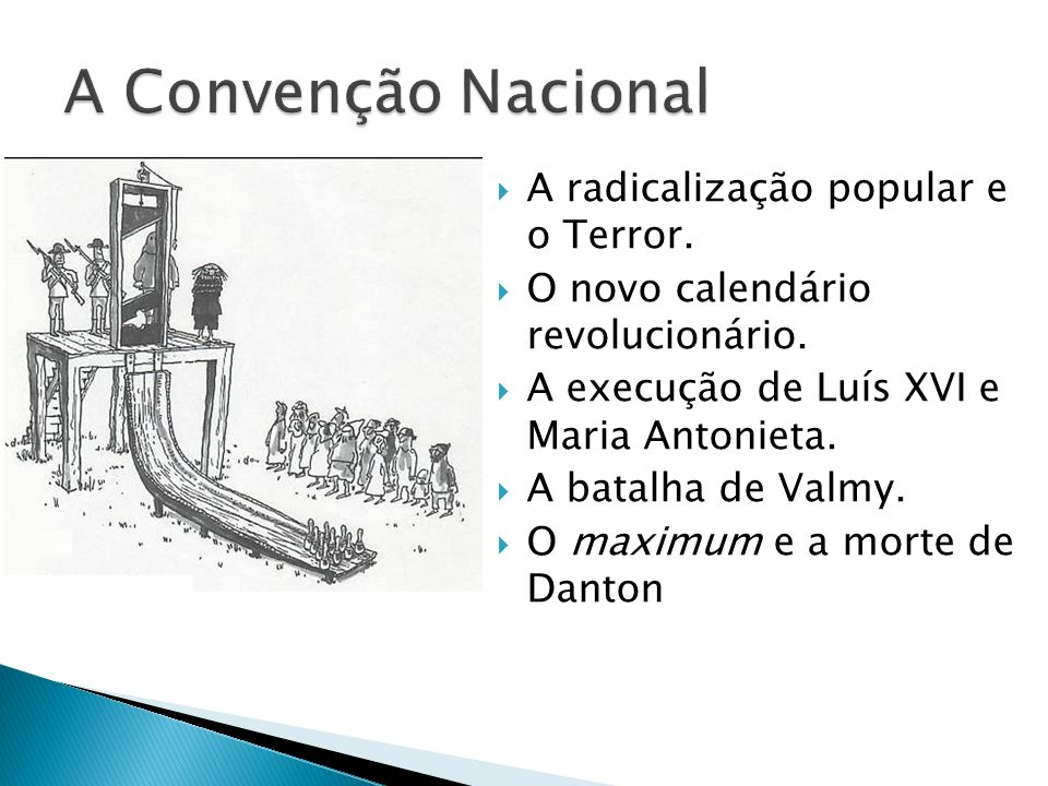 A Convenção Nacional A radicalização popular e o Terror.