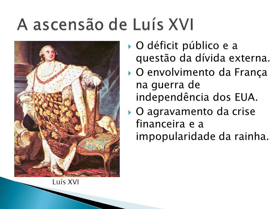 A ascensão de Luís XVIO déficit público e a questão da dívida externa. O envolvimento da França na guerra de independência dos EUA.
