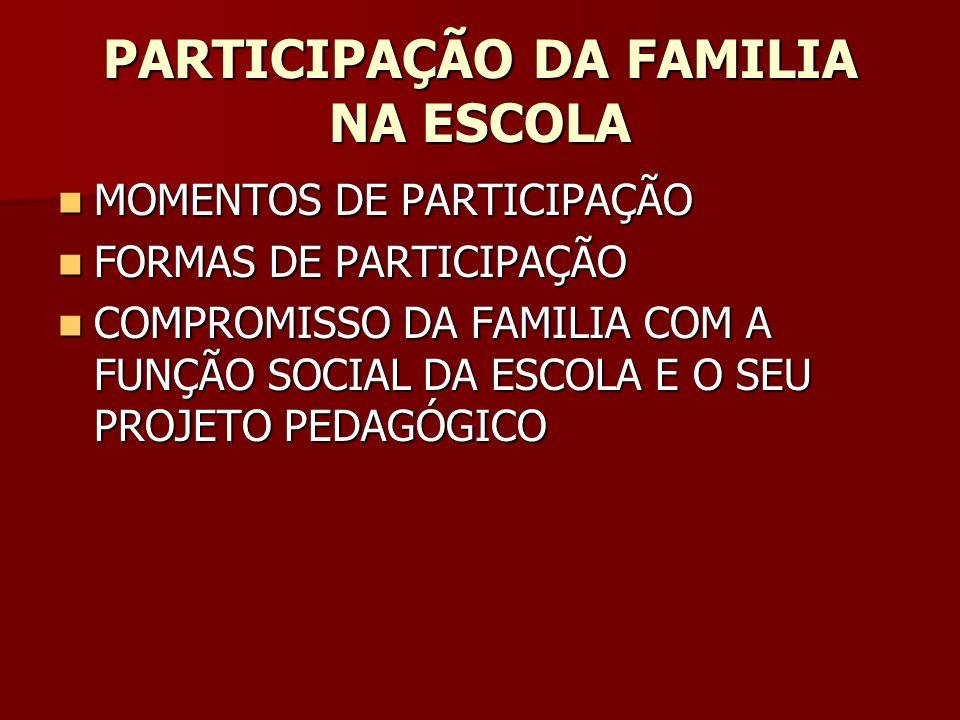 PARTICIPAÇÃO DA FAMILIA NA ESCOLA
