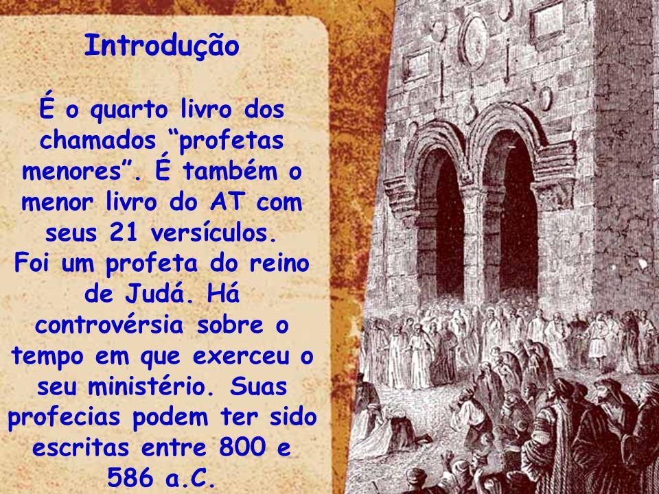 IntroduçãoÉ o quarto livro dos chamados profetas menores . É também o menor livro do AT com seus 21 versículos.