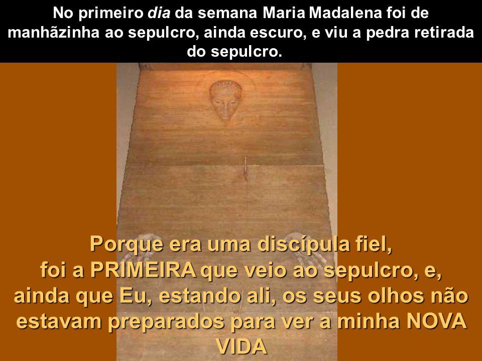No primeiro dia da semana Maria Madalena foi de manhãzinha ao sepulcro, ainda escuro, e viu a pedra retirada do sepulcro.