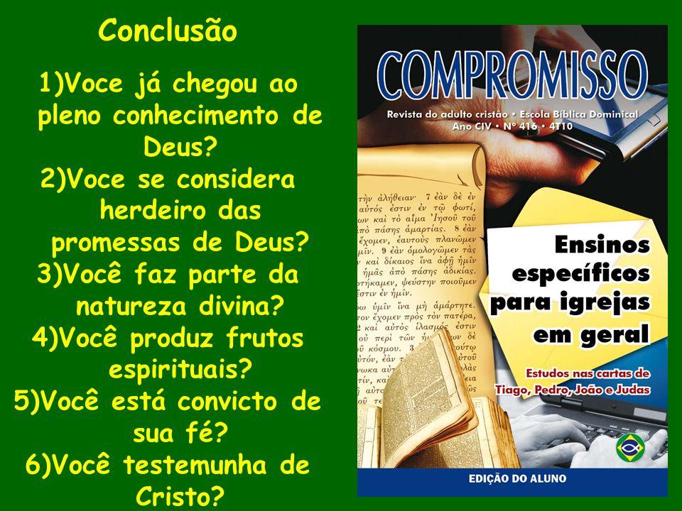 Conclusão Voce já chegou ao pleno conhecimento de Deus