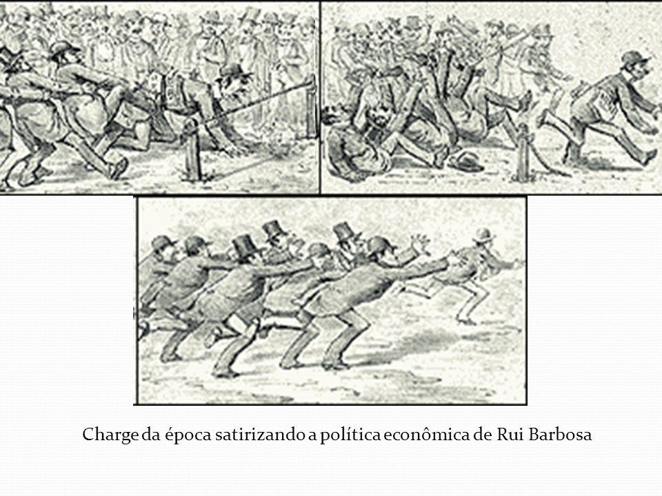Charge da época satirizando a política econômica de Rui Barbosa