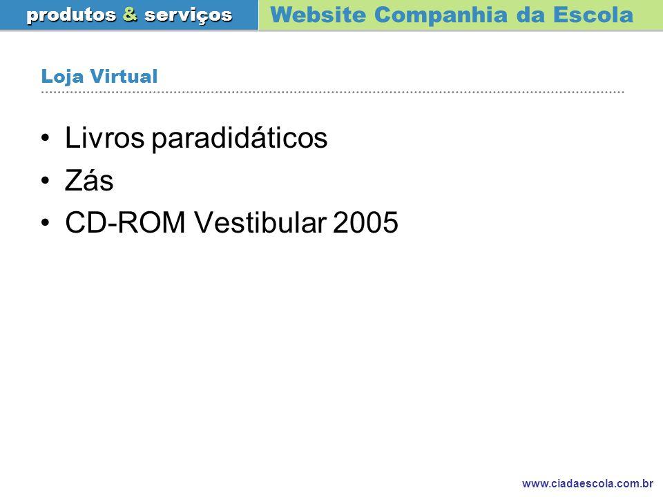 Loja Virtual Livros paradidáticos Zás CD-ROM Vestibular 2005
