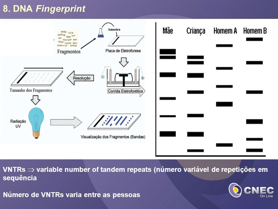 8. DNA Fingerprint VNTRs  variable number of tandem repeats (número variável de repetições em sequência.