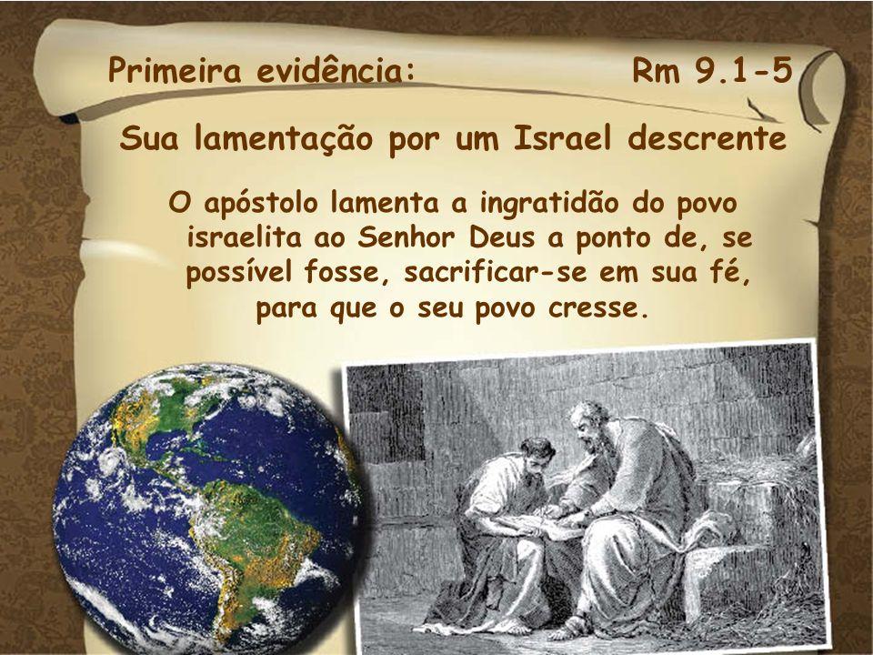 Sua lamentação por um Israel descrente para que o seu povo cresse.
