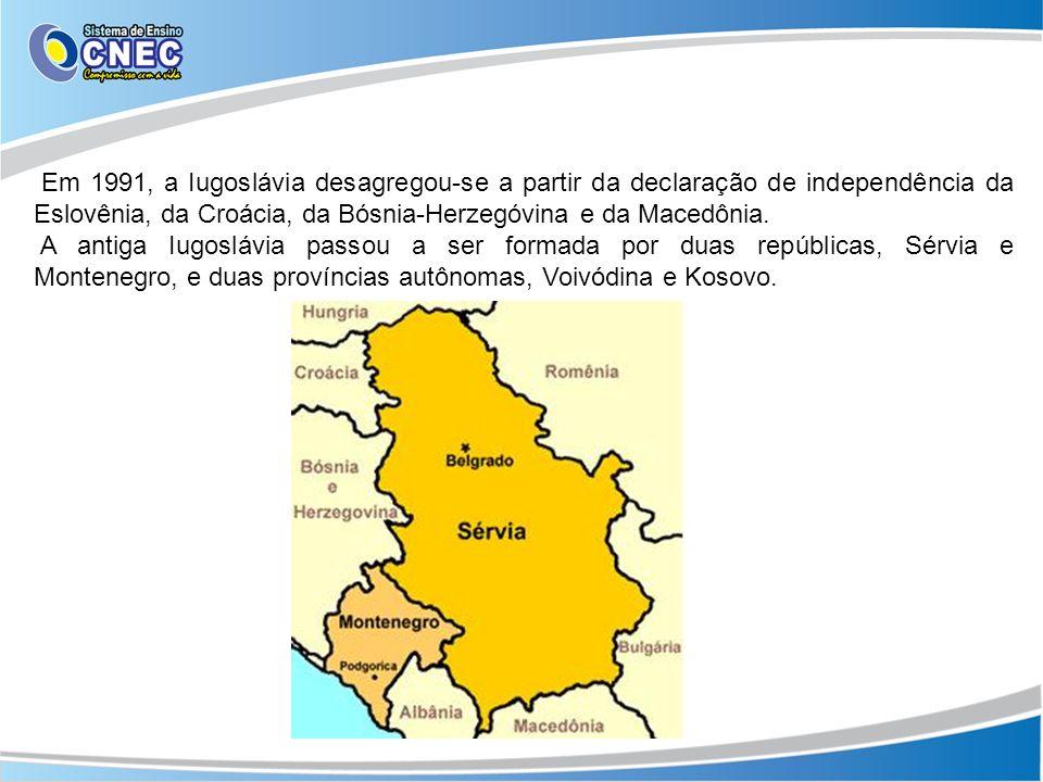 Em 1991, a Iugoslávia desagregou-se a partir da declaração de independência da Eslovênia, da Croácia, da Bósnia-Herzegóvina e da Macedônia.