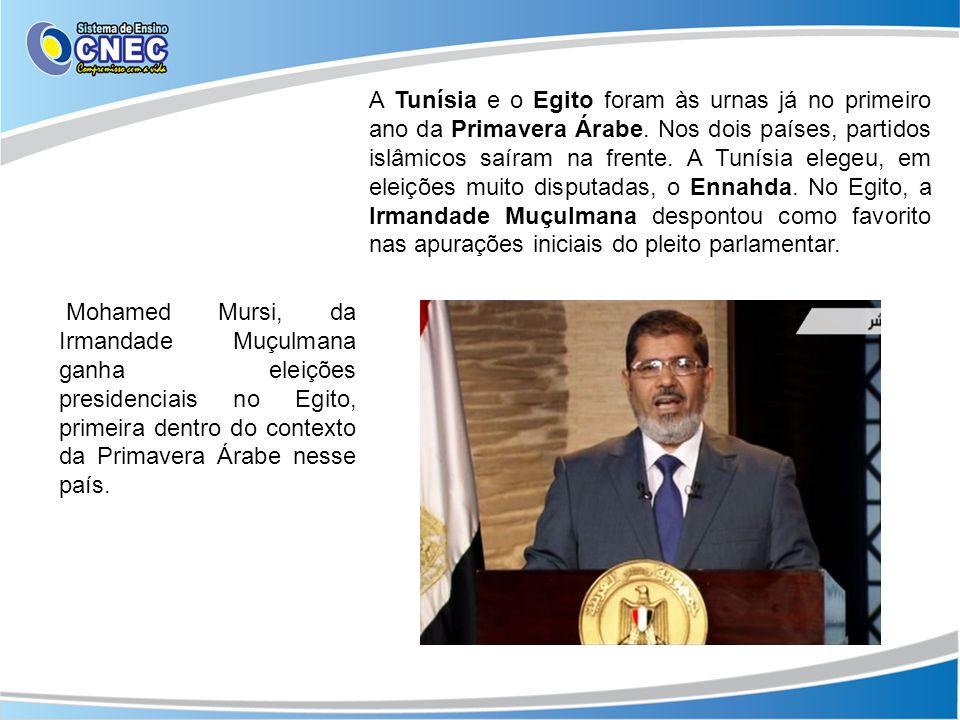 A Tunísia e o Egito foram às urnas já no primeiro ano da Primavera Árabe. Nos dois países, partidos islâmicos saíram na frente. A Tunísia elegeu, em eleições muito disputadas, o Ennahda. No Egito, a Irmandade Muçulmana despontou como favorito nas apurações iniciais do pleito parlamentar.