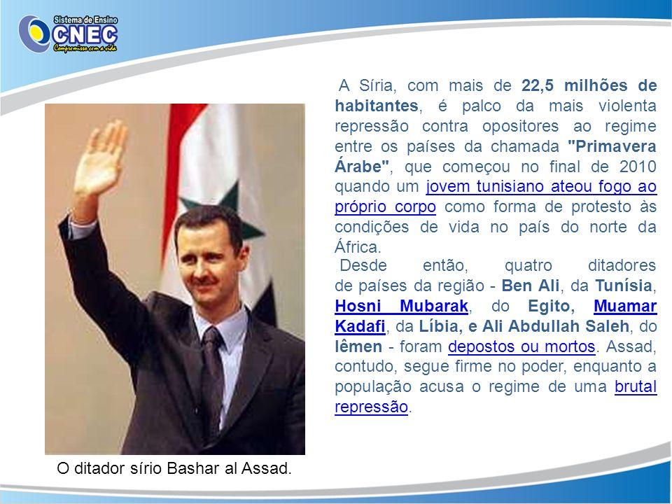 A Síria, com mais de 22,5 milhões de habitantes, é palco da mais violenta repressão contra opositores ao regime entre os países da chamada Primavera Árabe , que começou no final de 2010 quando um jovem tunisiano ateou fogo ao próprio corpo como forma de protesto às condições de vida no país do norte da África.