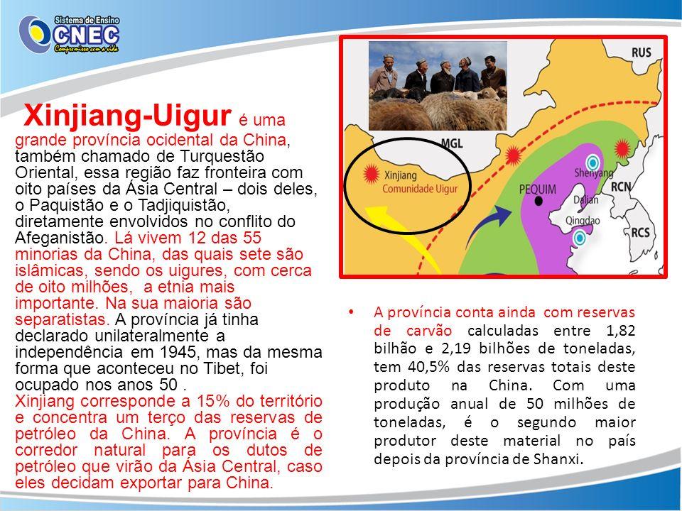 Xinjiang-Uigur é uma grande província ocidental da China, também chamado de Turquestão Oriental, essa região faz fronteira com oito países da Ásia Central – dois deles, o Paquistão e o Tadjiquistão, diretamente envolvidos no conflito do Afeganistão. Lá vivem 12 das 55 minorias da China, das quais sete são islâmicas, sendo os uigures, com cerca de oito milhões, a etnia mais importante. Na sua maioria são separatistas. A província já tinha declarado unilateralmente a independência em 1945, mas da mesma forma que aconteceu no Tibet, foi ocupado nos anos 50 .
