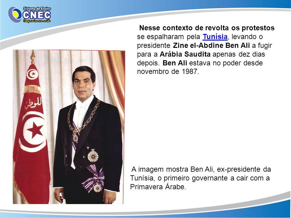 Nesse contexto de revolta os protestos se espalharam pela Tunísia, levando o presidente Zine el-Abdine Ben Ali a fugir para a Arábia Saudita apenas dez dias depois. Ben Ali estava no poder desde novembro de 1987.