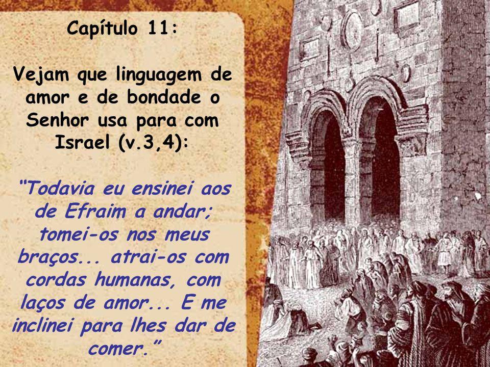 Capítulo 11: Vejam que linguagem de amor e de bondade o Senhor usa para com Israel (v.3,4):