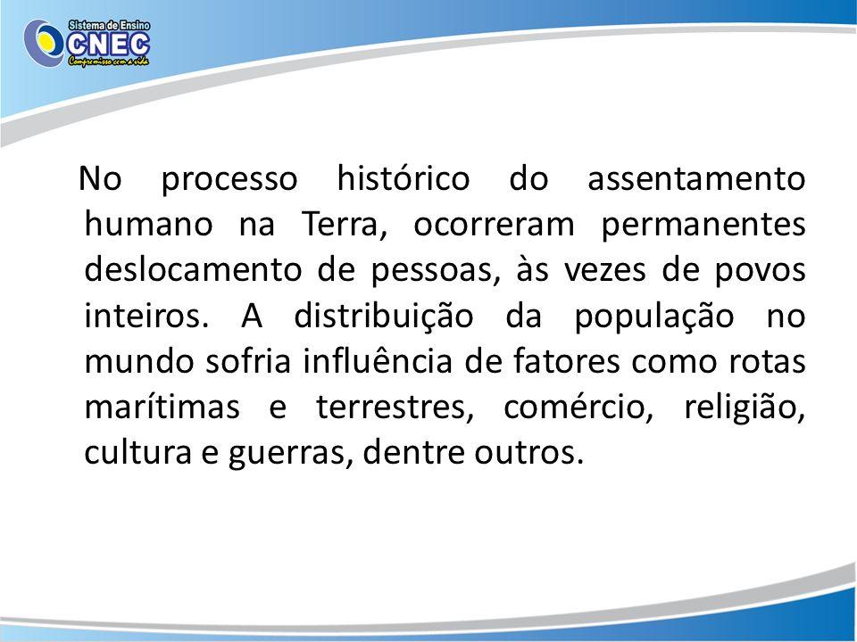 No processo histórico do assentamento humano na Terra, ocorreram permanentes deslocamento de pessoas, às vezes de povos inteiros.