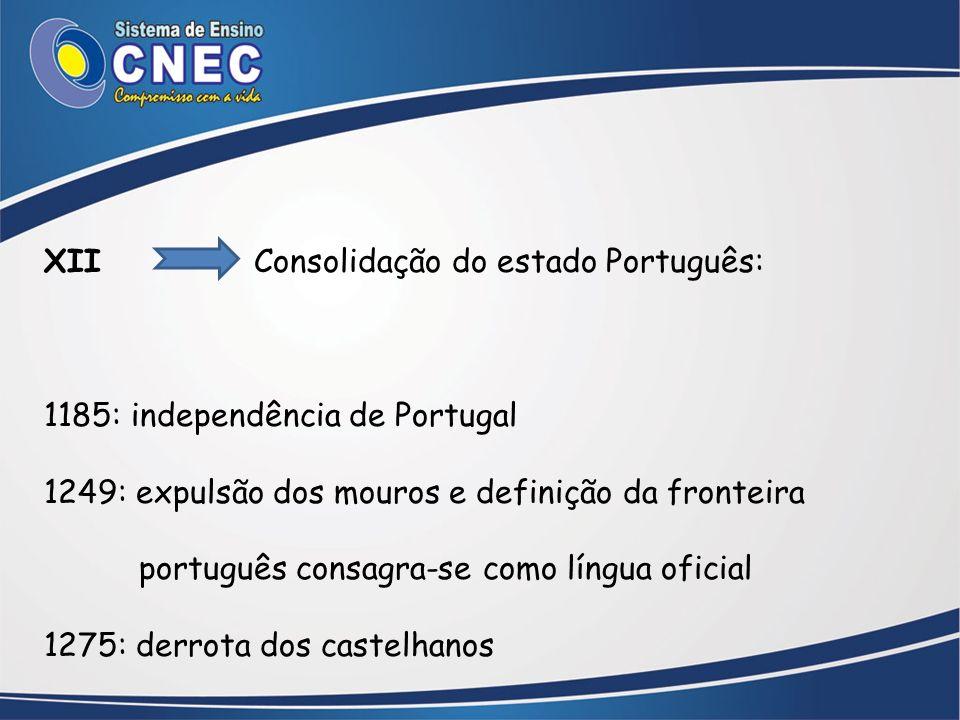 XII Consolidação do estado Português: