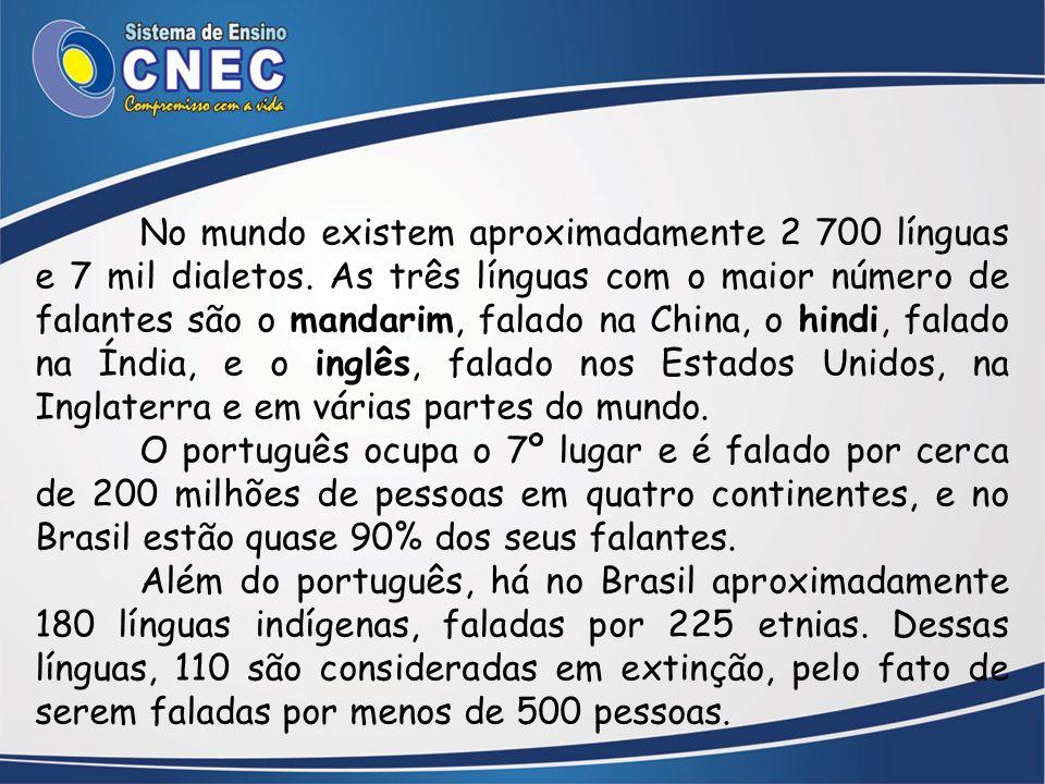 No mundo existem aproximadamente 2 700 línguas e 7 mil dialetos