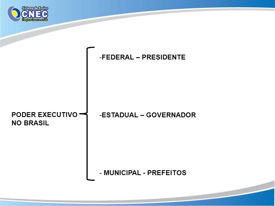 FEDERAL – PRESIDENTE ESTADUAL – GOVERNADOR MUNICIPAL - PREFEITOS PODER EXECUTIVO NO BRASIL