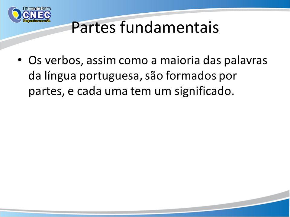 Partes fundamentaisOs verbos, assim como a maioria das palavras da língua portuguesa, são formados por partes, e cada uma tem um significado.